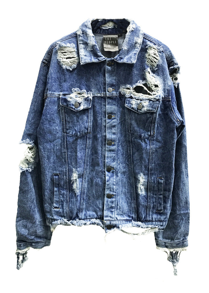 EDDIE DESTROYED DENIM JACKET - GUNS N ROSES - LARGE