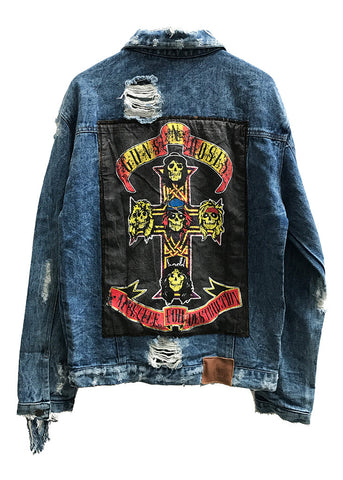 EDDIE DESTROYED DENIM JACKET - GNR CROSS - LARGE