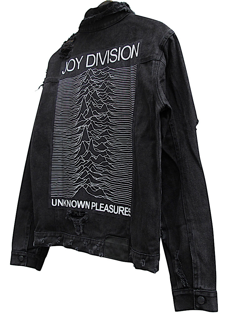 JOY DIVISION COLLECTOR EDDIE DESTROYED DENIM JACKET - BLACK