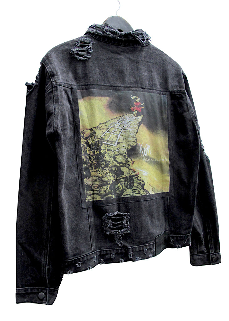 KORN COLLECTOR EDDIE DESTROYED DENIM JACKET - BLACK