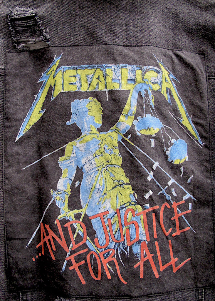 METALLICA COLLECTOR EDDIE DESTROYED DENIM JACKET - BLACK