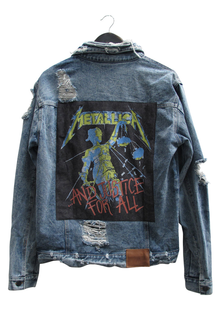 METALLICA COLLECTOR EDDIE DESTROYED DENIM JACKET - VINTAGE INDIGO