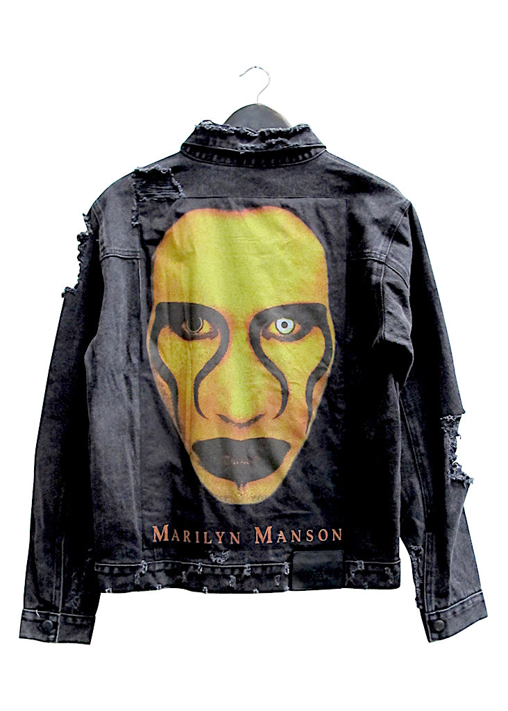 MARILYN COLLECTOR EDDIE DESTROYED DENIM JACKET - BLACK