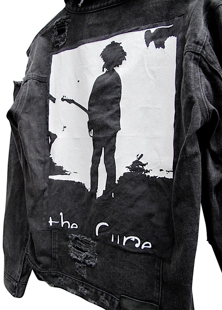 THE CURE COLLECTOR EDDIE DESTROYED DENIM JACKET - BLACK