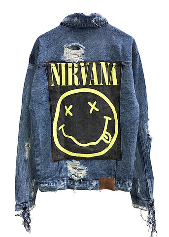 EDDIE DESTROYED DENIM JACKET - NIRVANA - LARGE