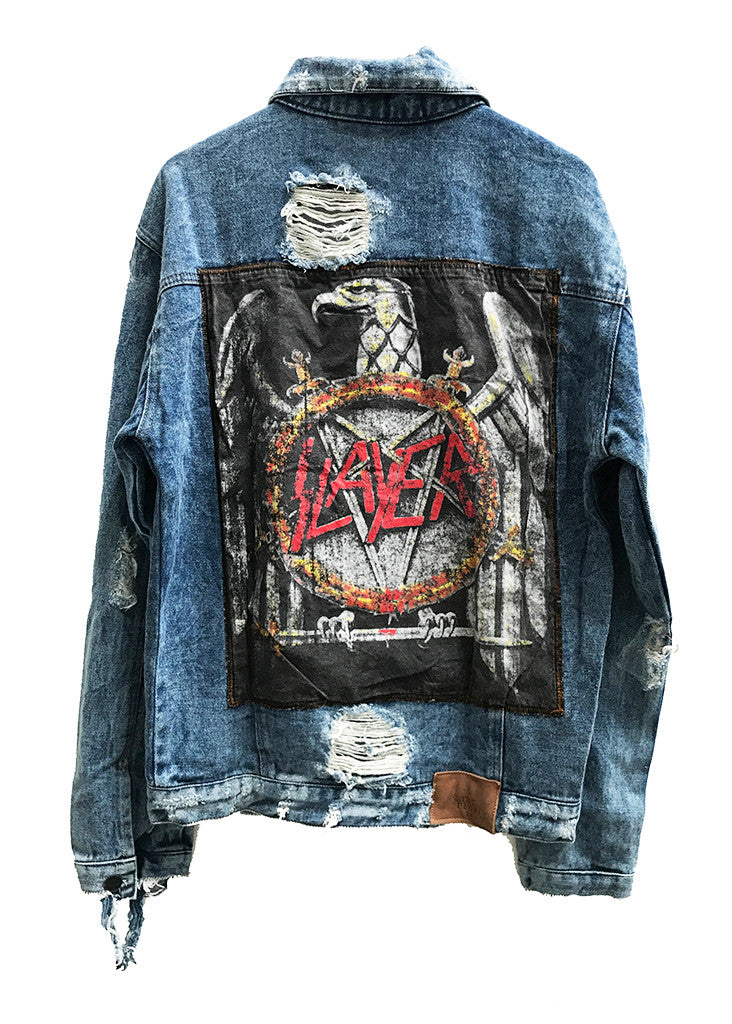 EDDIE DESTROYED DENIM JACKET - SLAYER - LARGE