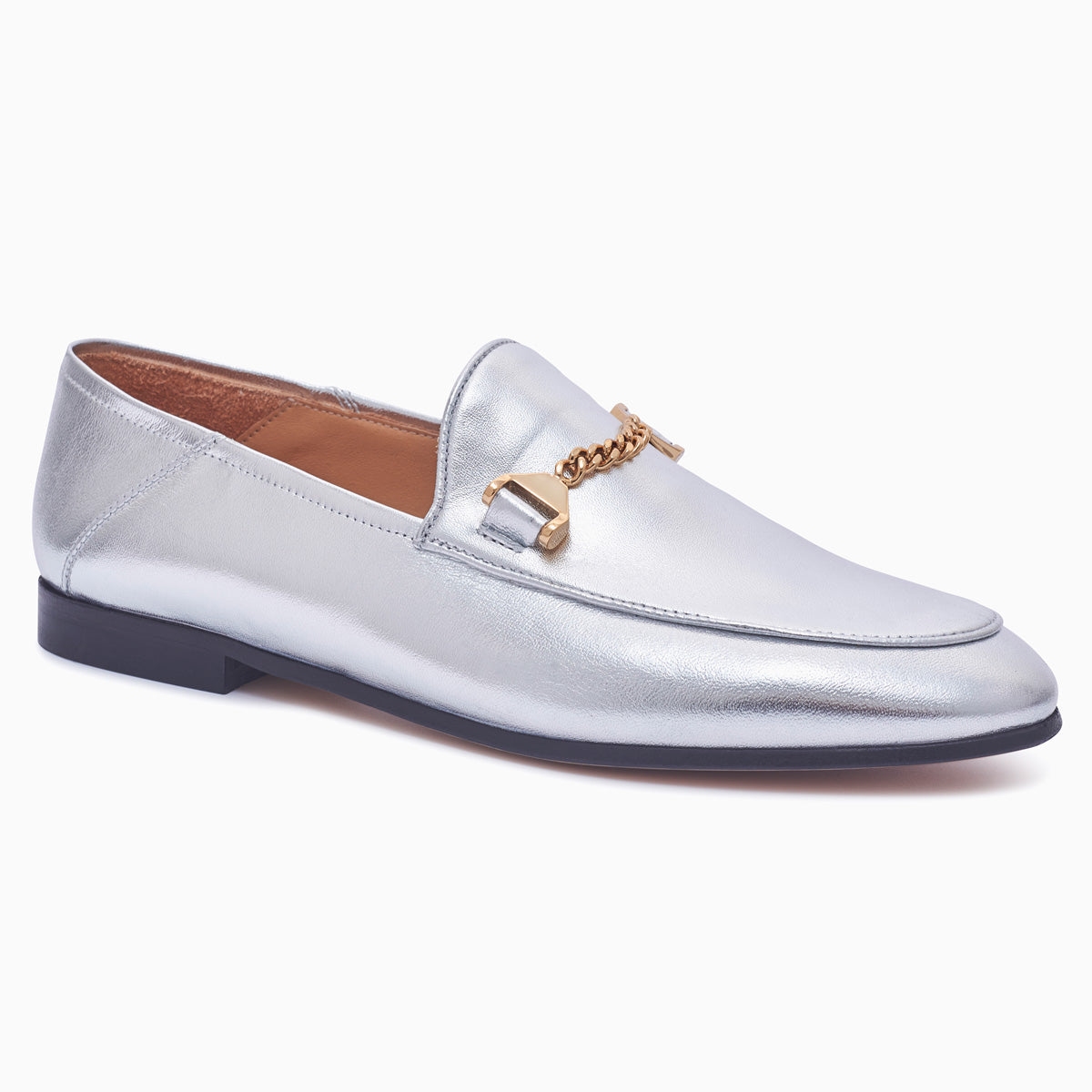 Hyusto Debbie Loafer Silver Glove 3/4 view