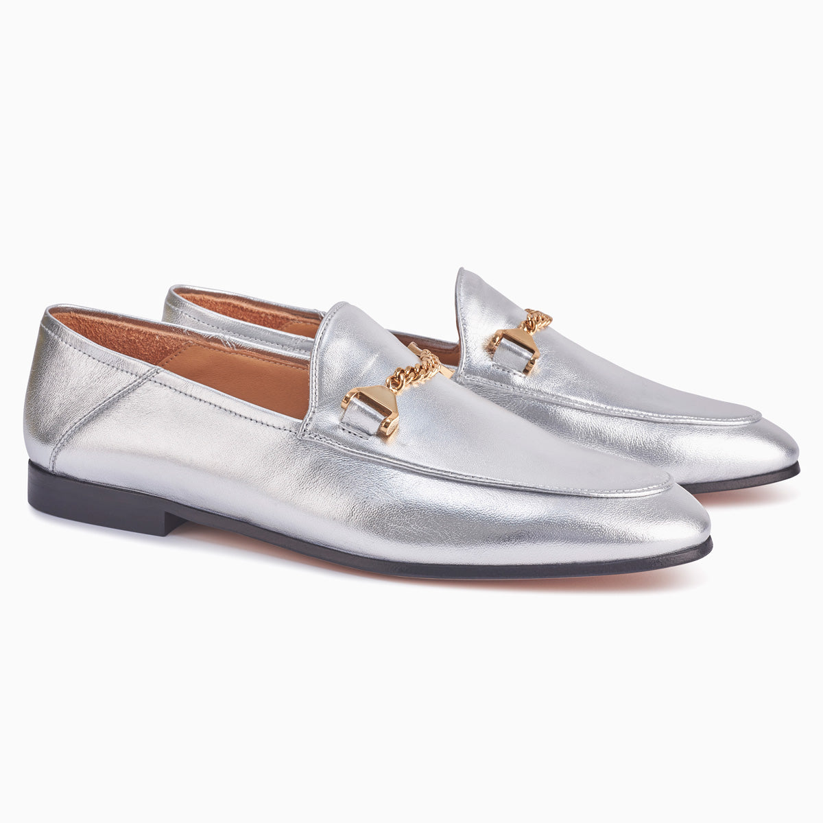Hyusto Debbie Loafer Silver Glove 3/4 view pair