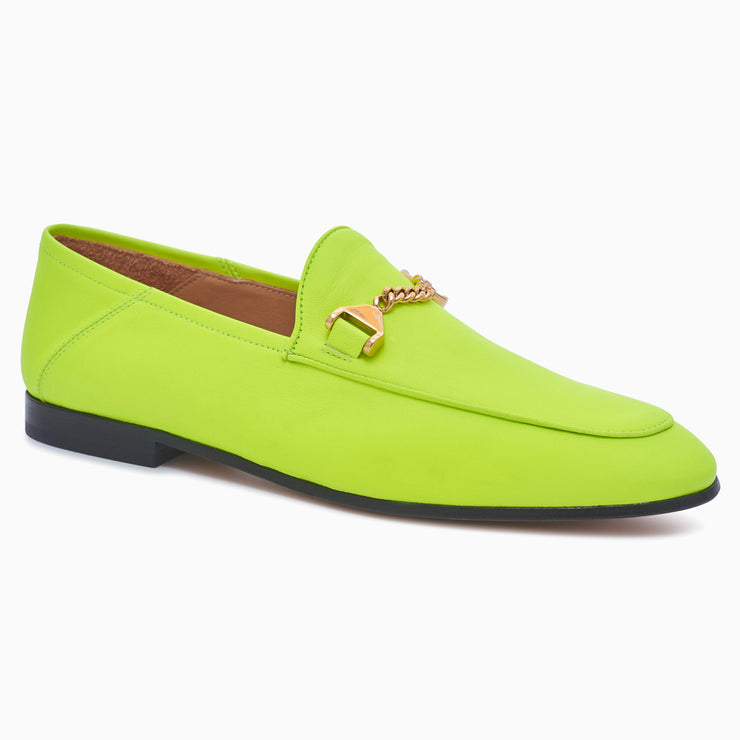 Hyusto Debbie Loafer Neon Yellow Glove Gold 3/4 View