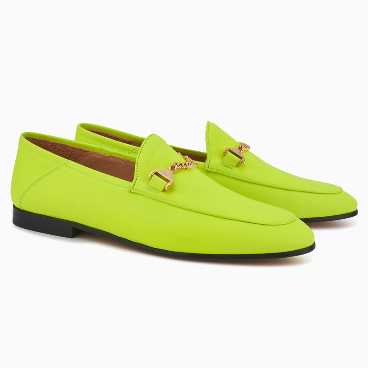 Hyusto Debbie Loafer Neon Yellow Glove 3/4 view pair