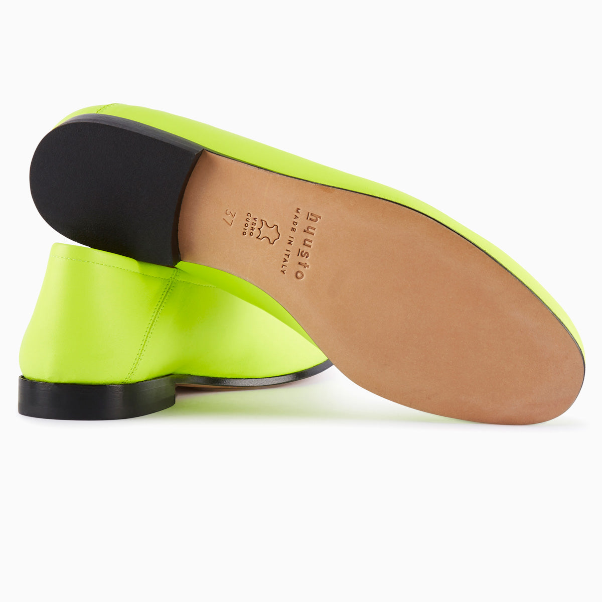 Hyusto Debbie Loafer Neon Yellow Glove bottom view sole