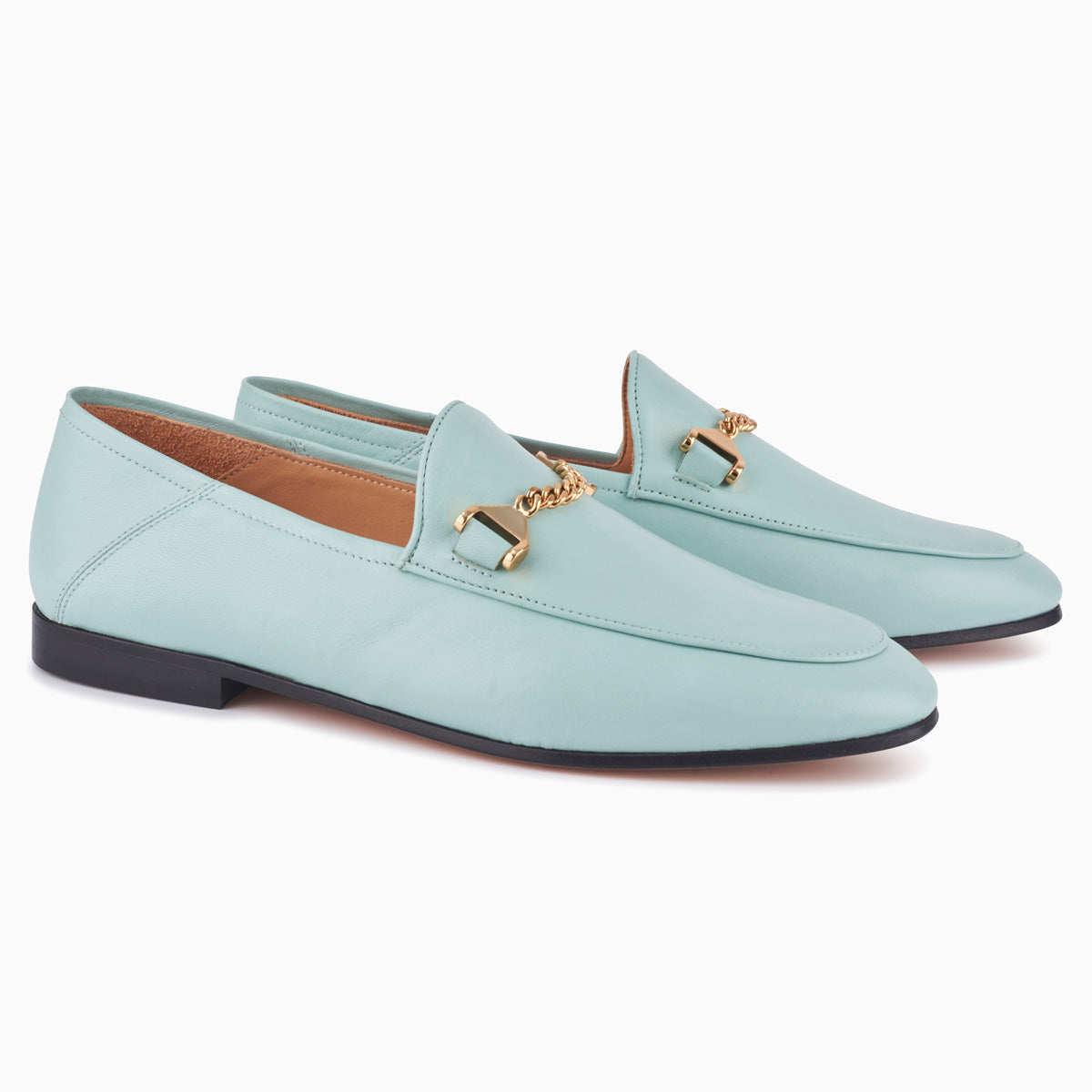 Hyusto Debbie Loafer Mint Glove 3/4 view pair