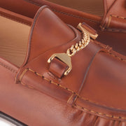 Hyusto Mick Moccasin Whisky Leather Gold Detail of the accessories
