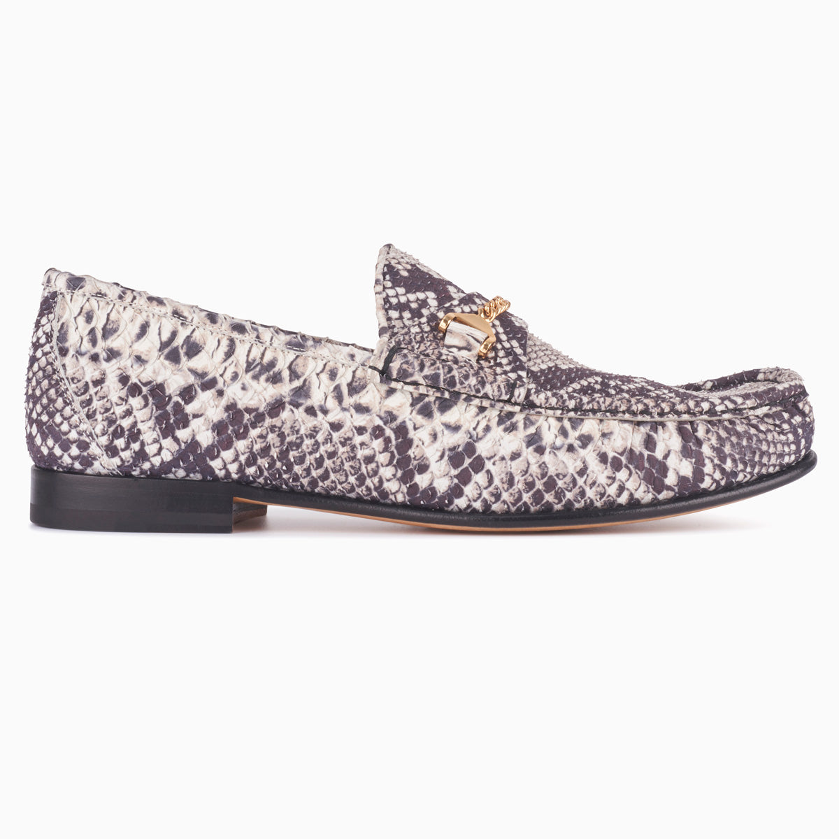 Hyusto Mick Moccasin rock python printed leather side view