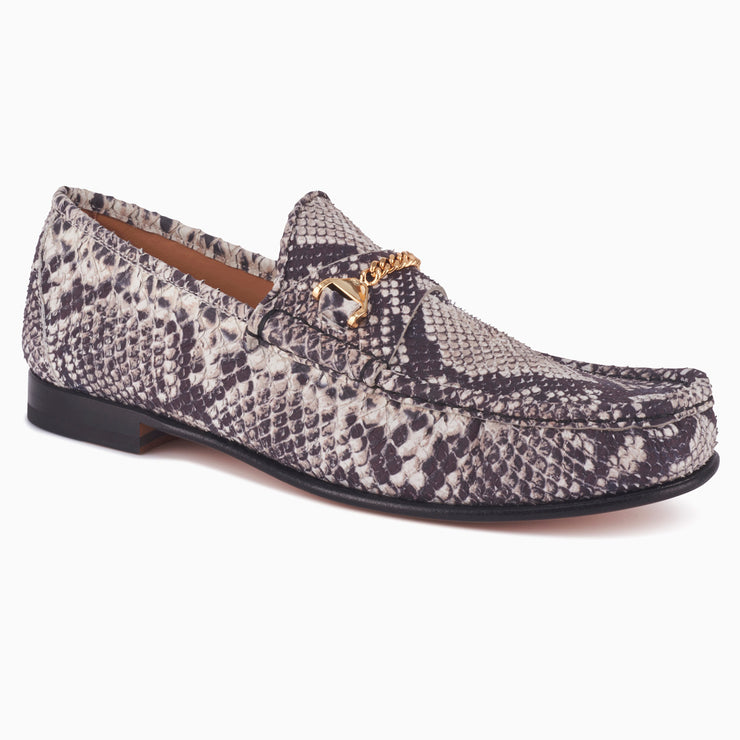 Hyusto Mick Moccasin rock python printed leather 3/4 view