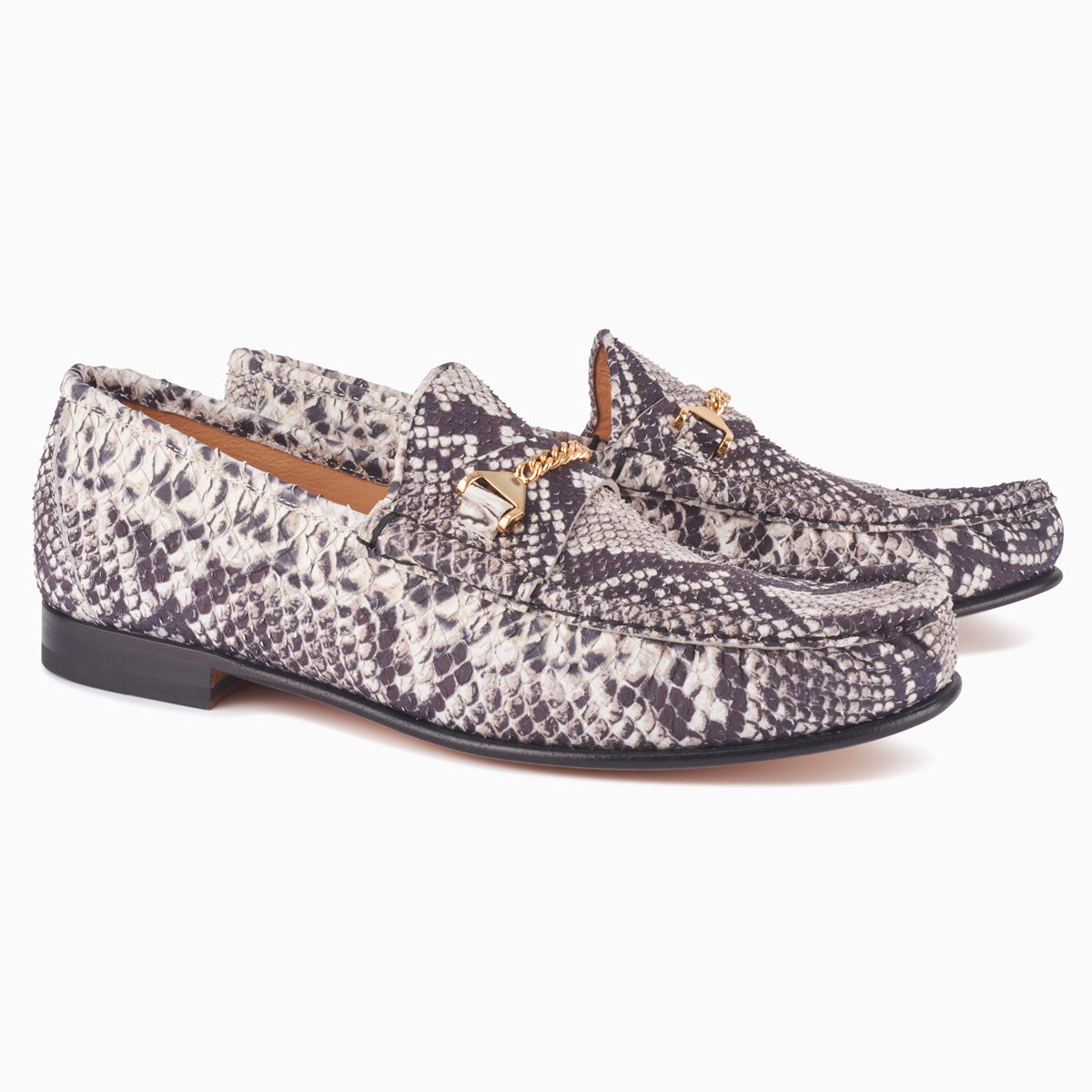 Hyusto Mick Moccasin rock python printed leather 3/4 view pair