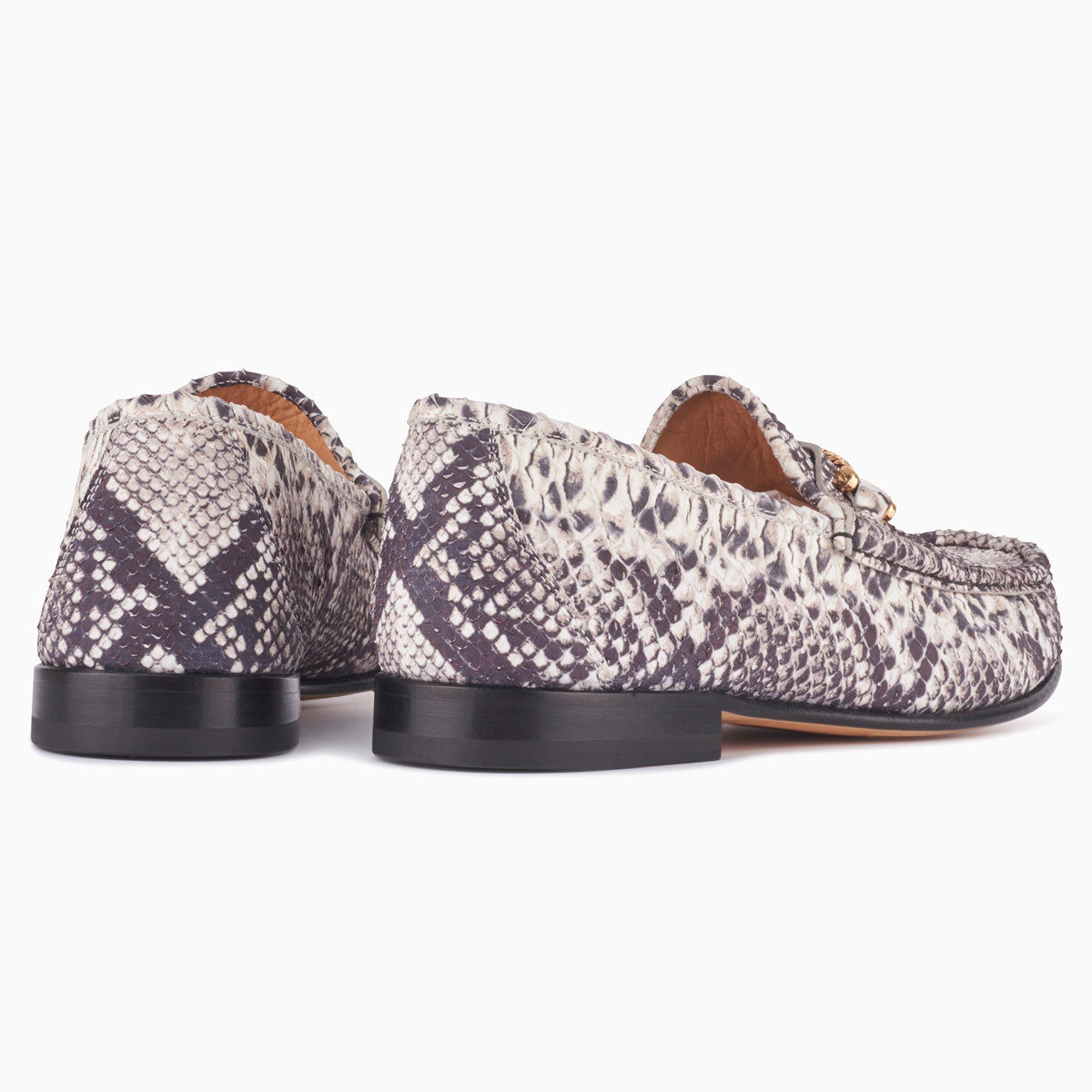 Hyusto Mick Moccasin rock python printed leather back view