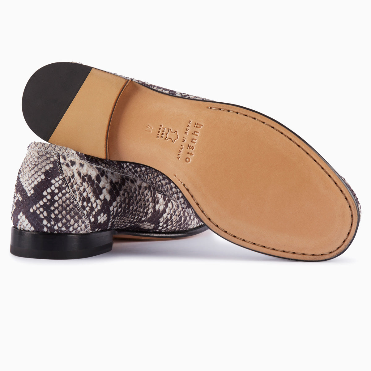 Hyusto Mick Moccasin rock python printed leather bottom view sole