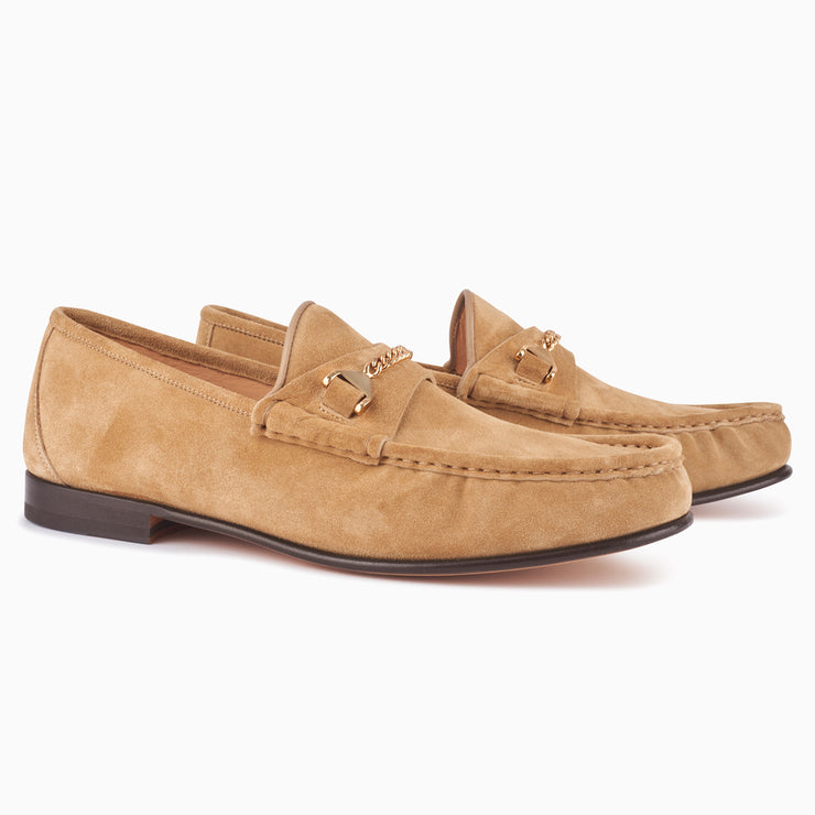 Hyusto Mick Moccasin Sand suede 3/4 view pair