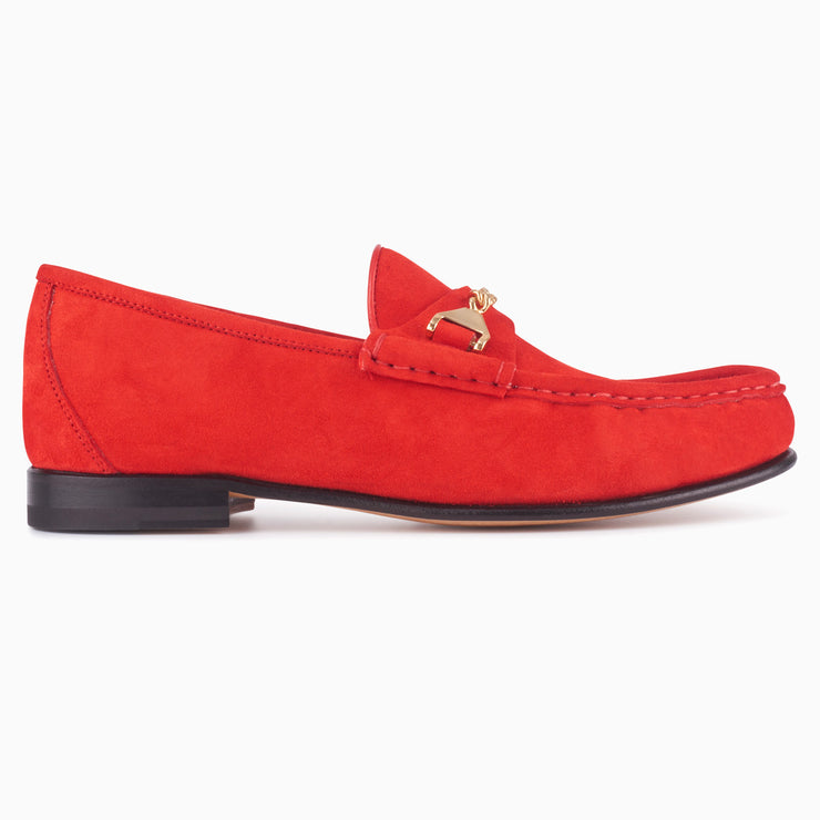 Hyusto Mick Moccasin Red kid suede side view