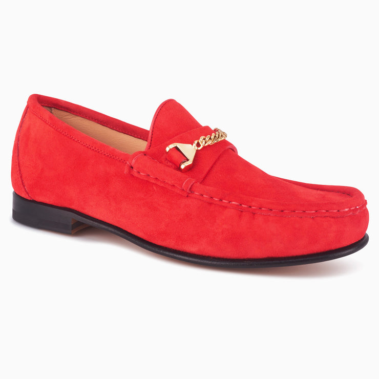 Hyusto Mick Moccasin Red kid suede 3/4 view