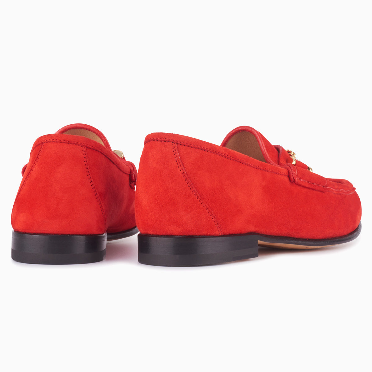 Hyusto Mick Moccasin Red kid suede back view