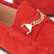 Hyusto Mick Moccasin Red kid suede Gold Detail of the accessories