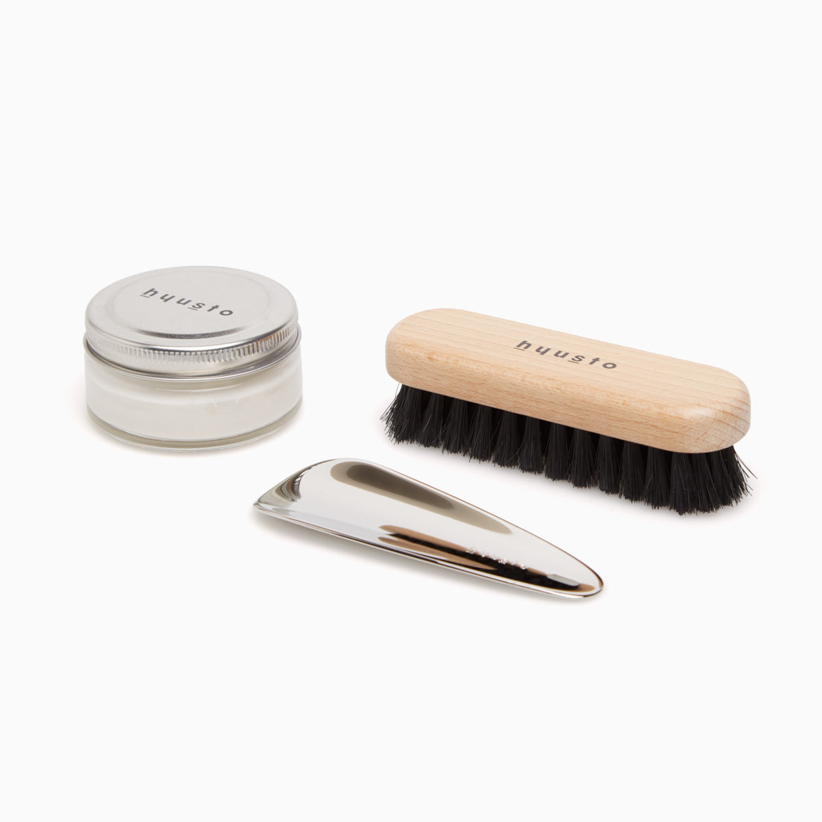 Hyusto Maintenance and care set with silver shoe horn, brush and neutro shoe cream
