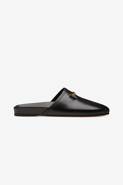 Hyusto Quincy Slipper Black Leather side view