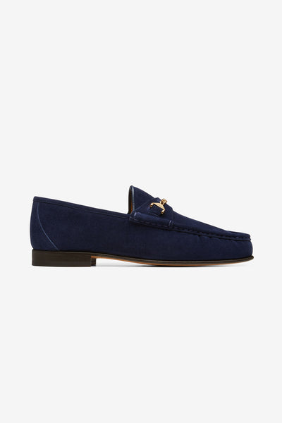 Hyusto Mick Mocsasin Dark Blue Suede side view