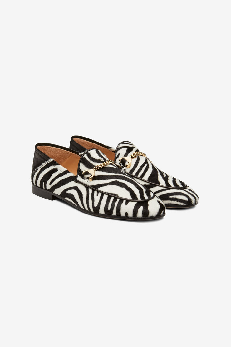 Hyusto Debbie Loafer Zebra Pony hair 3/4 view