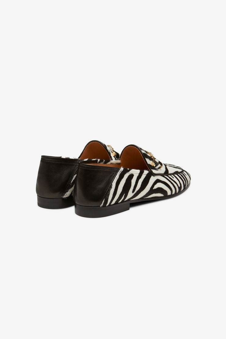 Hyusto Debbie Loafer Zebra Pony hair 3/4 view pair