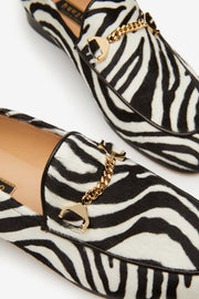 Hyusto Debbie Loafer Zebra Pony hair back view