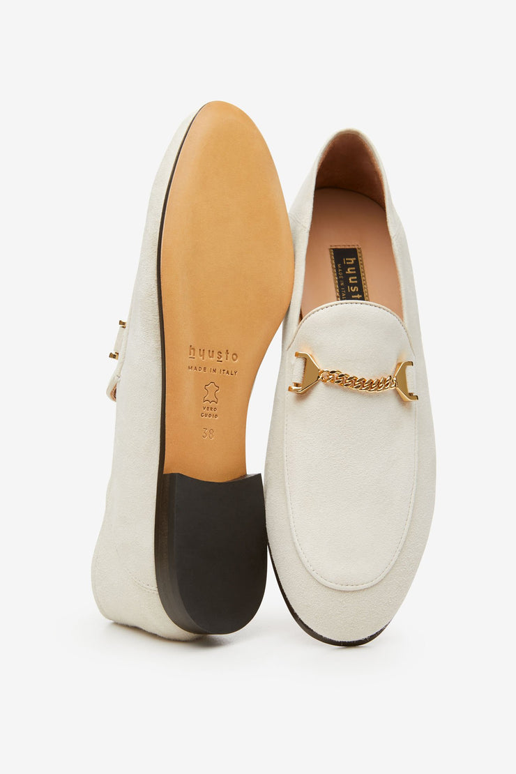 Debbie Loafer Offwhite Kid Suede