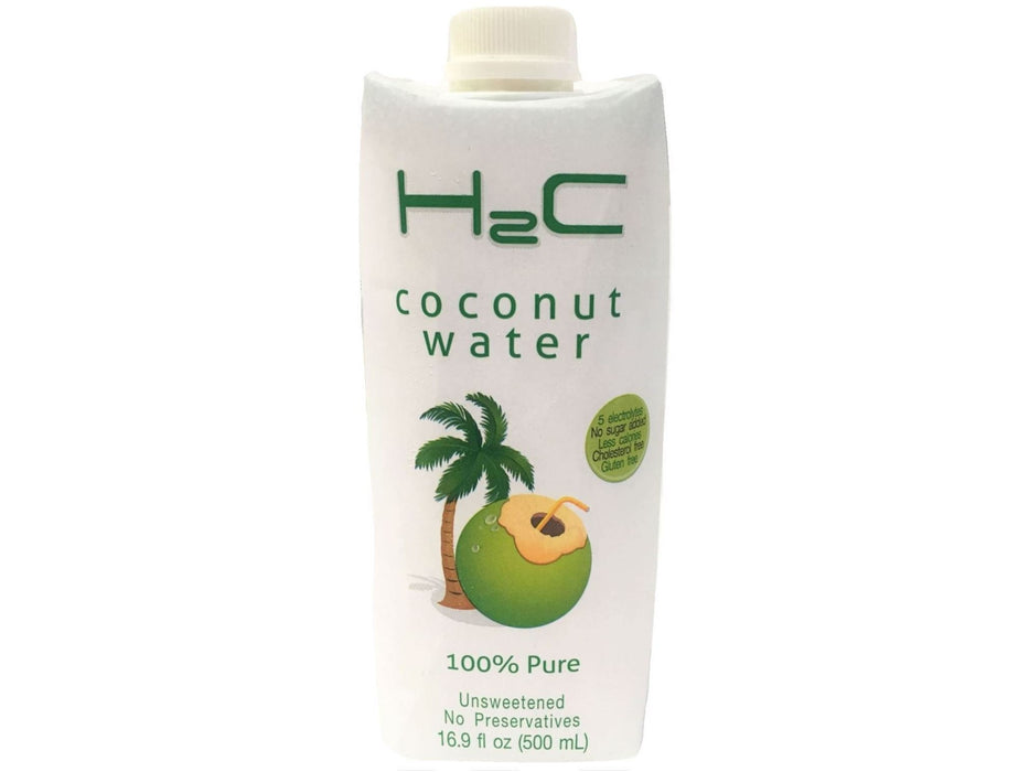H2C Coconut Water Unsweetened, No Preservatives (16.9floz/500ml)
