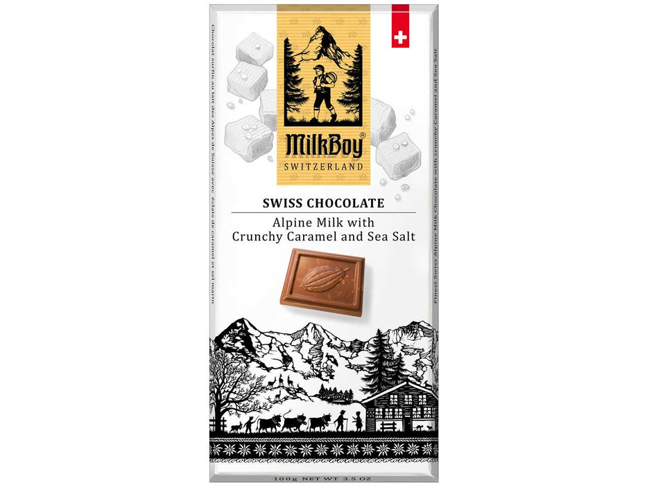 Milkboy: Alpine Swiss Milk Chocolate with Crunchy Caramel & Sea Salt (3.5 oz / 100 g)