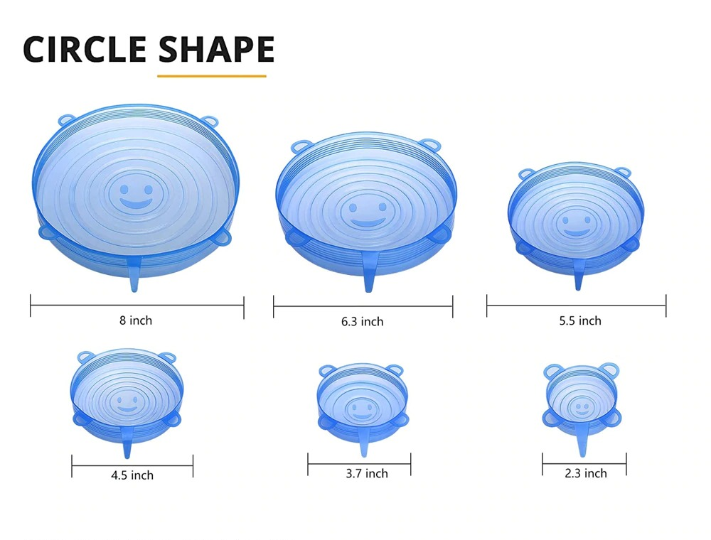 6pcs Reusable Silicone Cover Lids
