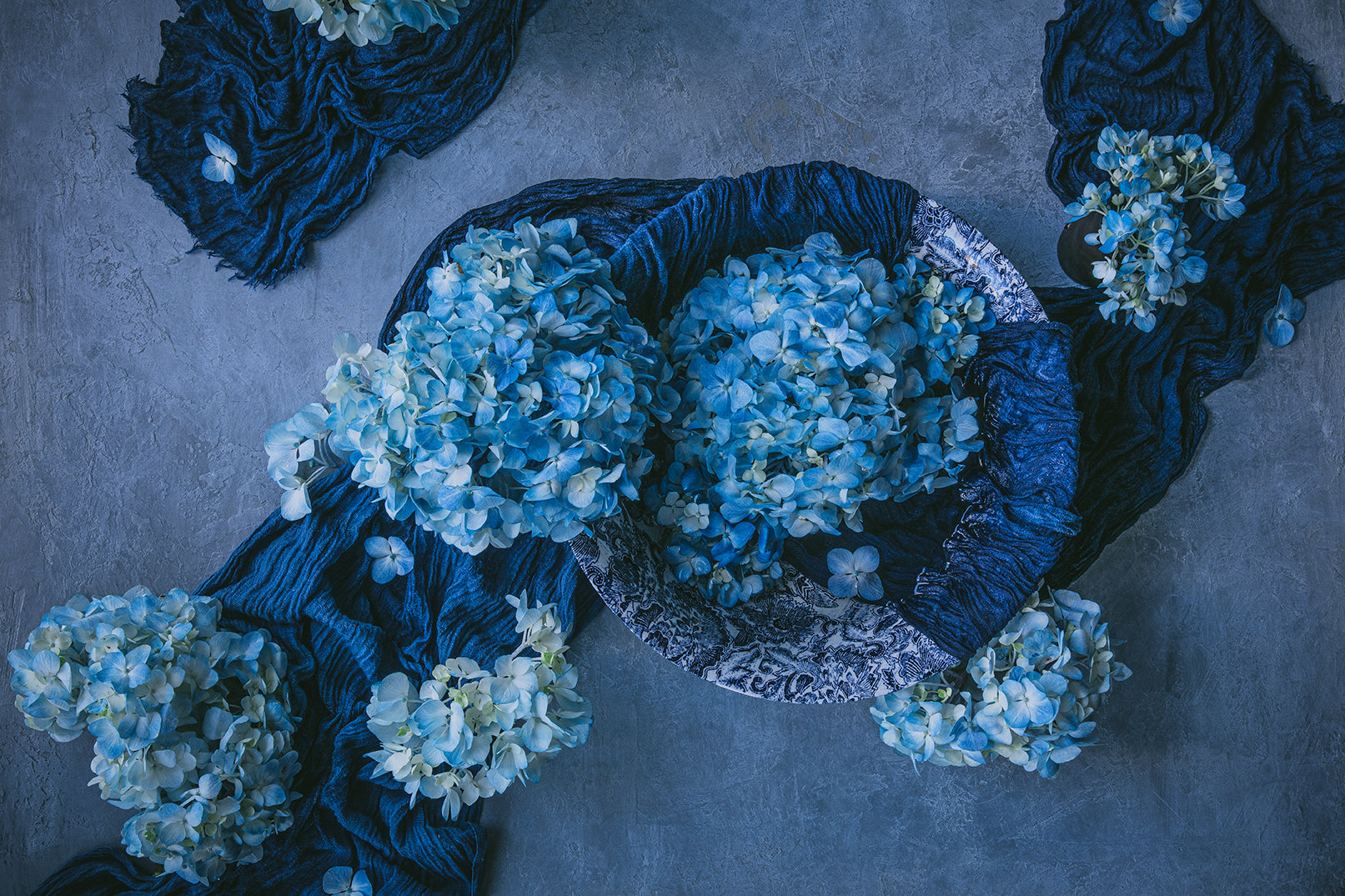 still life photo of blue and white flowers with blue scarf