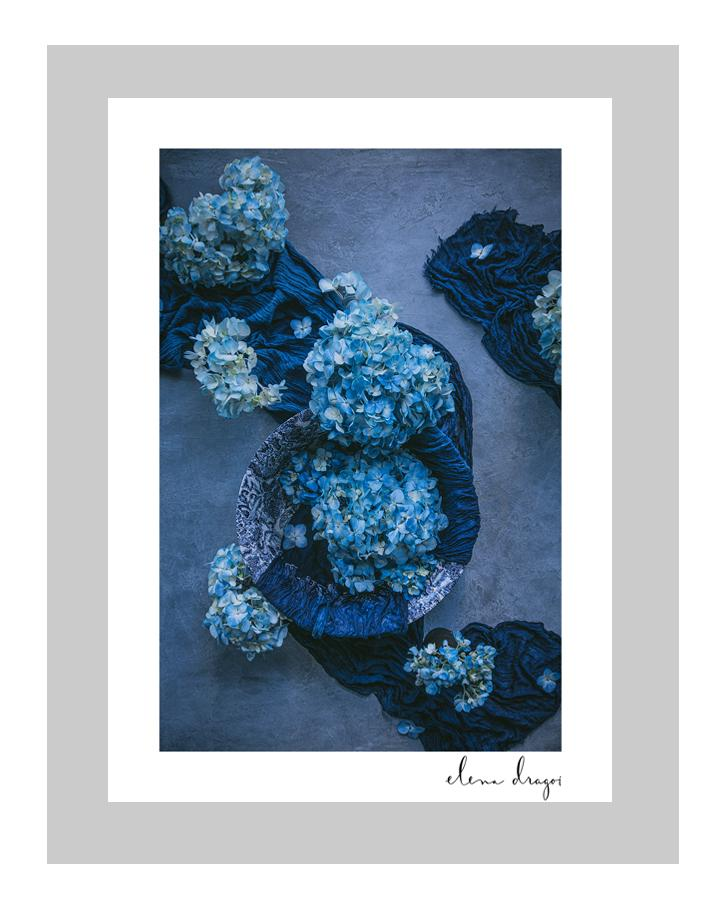 Blue Sea | custom floral art cards | art postcards | ELENA DRAGOI