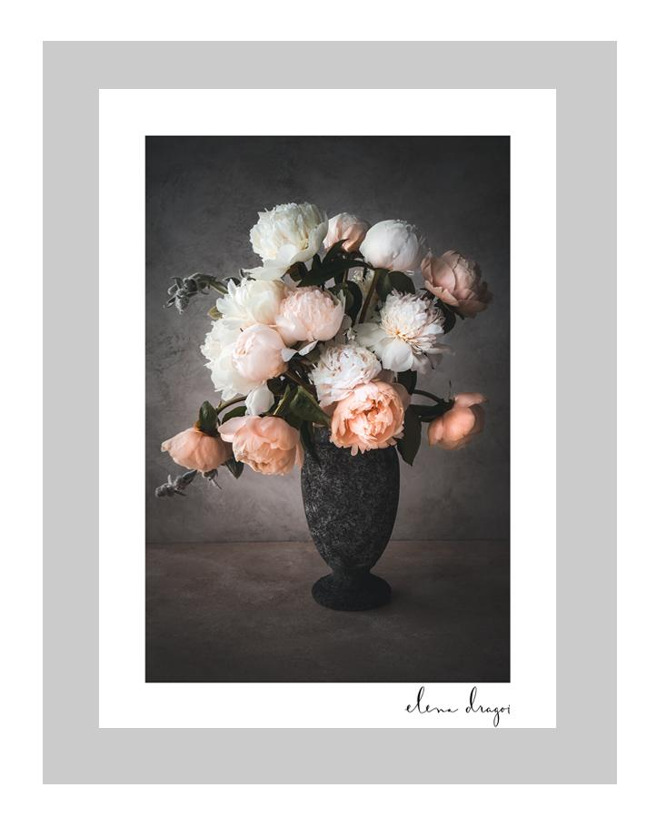 Blushing Romance I | custom floral art cards | art postcards | ELENA DRAGOI