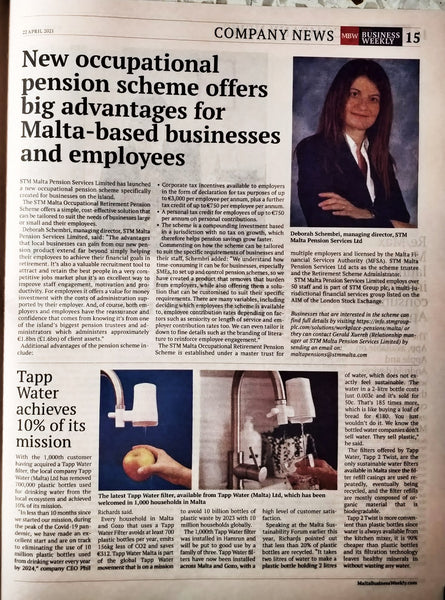 Malta Business Weekly TAPP Water April 2021