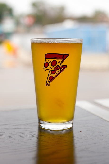 Hello Pizza lightning bolt 16 oz pint glass