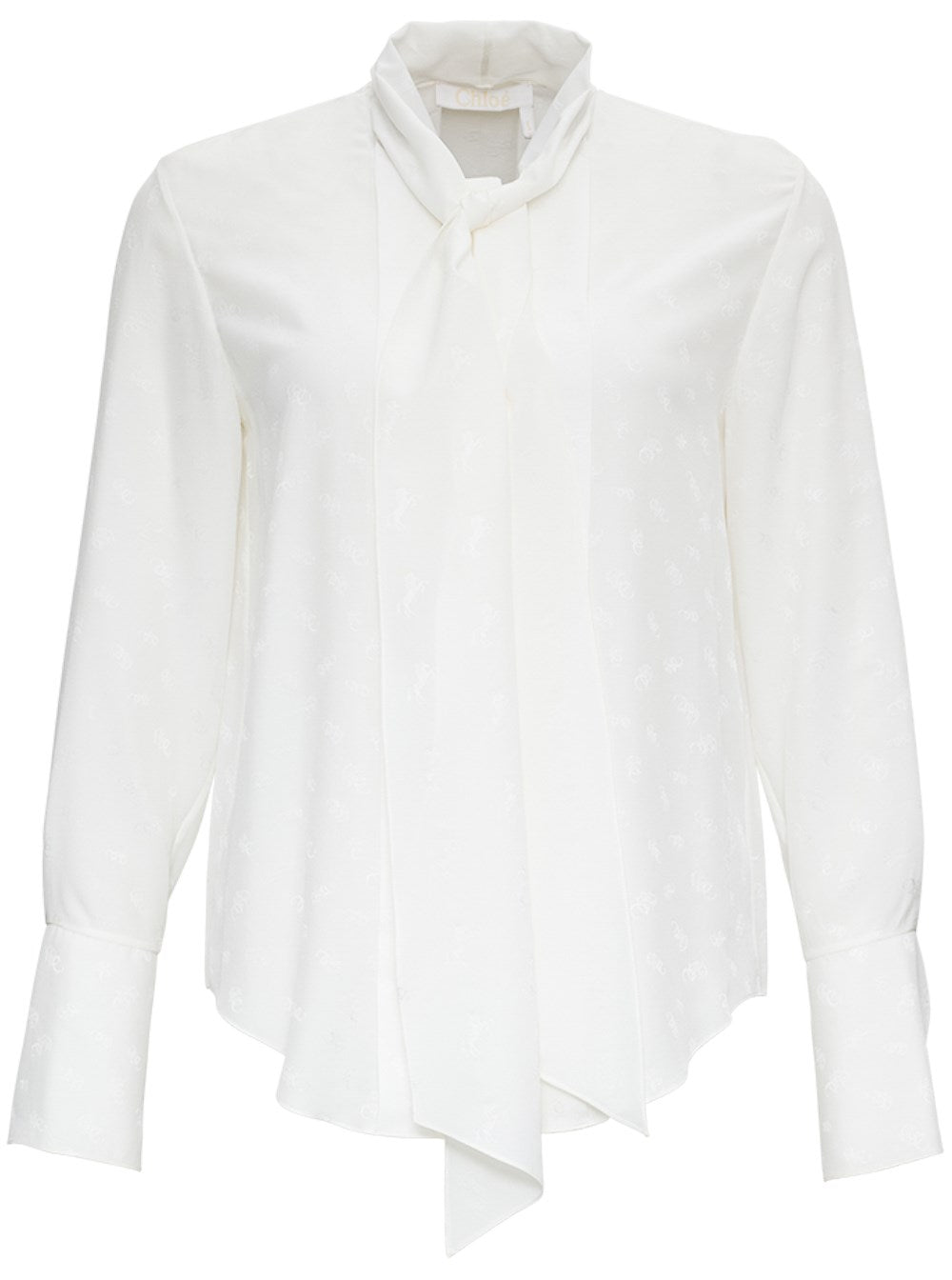 Chloé WHITE SILK BLOUSE WITH ALLOVER LOGO