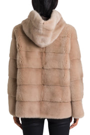 Quilted Mink Fur with Pull-On Hood