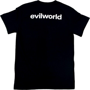 Black Evil World Back Text Tee