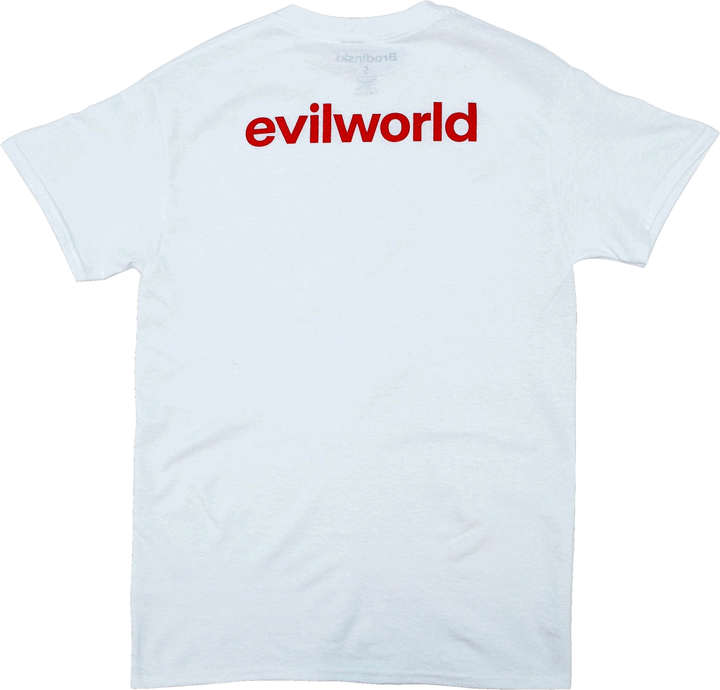 White Evil World Back Text Tee