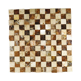 "Walnut Travertine Chessboard 12""x 12"" Natural Stone Mosaic Tile"