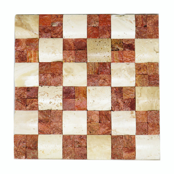 "Beige & Red Travertine Double Chessboard 12""x 12"" Natural Stone Mosaic Tile"