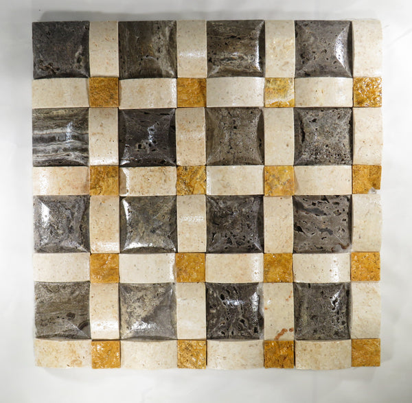 "Black & Yellow Travertine Diamond 12""x 12"" Natural Stone Mosaic Tile"