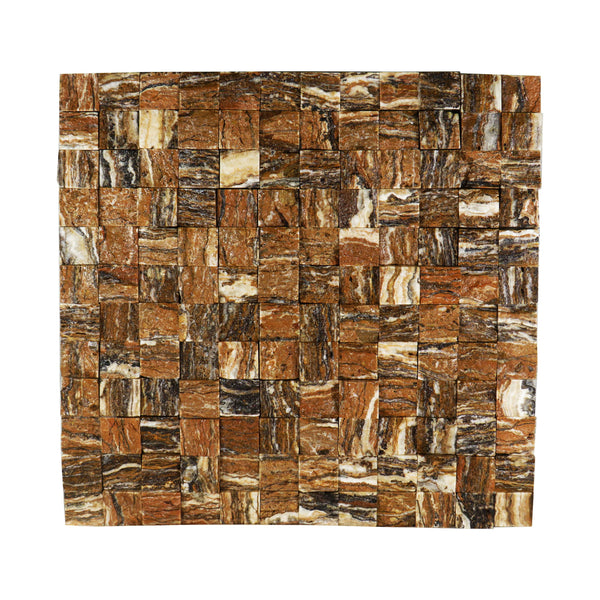 "Walnut Travertine Mini Squares 12""x 12"" Natural Stone Mosaic Tile"